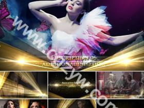 AE模板-高档大气电影颁奖晚会包装金色粒子企业宣传片片头模板