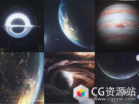 C4D模型工程9大太阳系行星黑洞星球地球模型