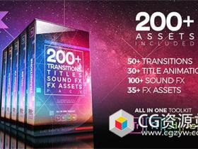 PR模板-200+失真故障转场文字标题工具包+音效