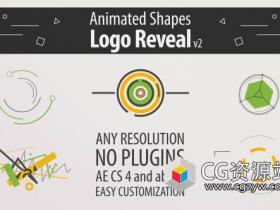 AE模板-5种动态线图形变化Logo动画 Shape Animation Logo Reveal v2