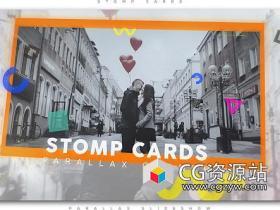 AE模板-空间感卡片视差快闪视频片头 Stomp Cards Parallax Opener