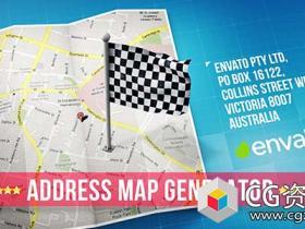 AE模板-地理信息坐标标记世界旅行位置地点地图动画map