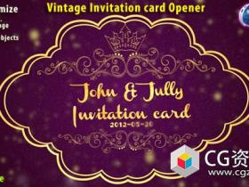 AE+C4D模板-三维复古邀请卡动画 Vintage Invitation Card