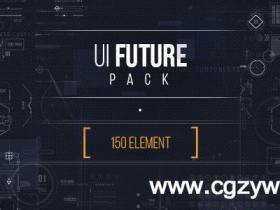 AE模板-高科技触摸UI动画HUD元素工具包+视频素材
