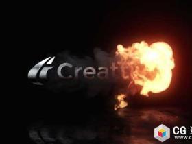 AE模板-4K标志片头爆炸燃烧火焰烟雾Logo文字动画 Fire Reveal Logo