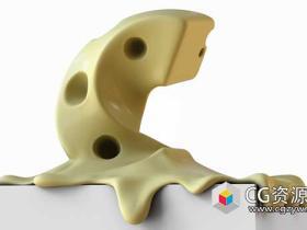 C4D R19教程用雕刻模块雕刻一块融化的奶酪Cinema 4D – Melting Cheese Type Tutorial