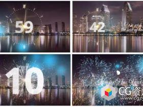 AE模板-2018年烟花粒子时钟60秒倒计时庆祝新年快乐