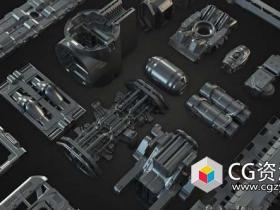 科幻概念机械3D模型 Gumroad – Tech Heavy Pro Kit (400+ 2d-3d Elements)
