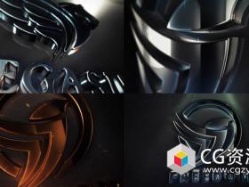 AE模板-优雅3D标志揭示金属质感Logo动画 Clean Elegant 3D Logo Reveal