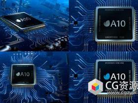 AE模板-数据数字高科技介绍微电路CPU Logo动画 Microcircuit CPU Logo