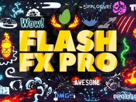 AE模板+PR脚本预设-动漫卡通能量火焰特效合成文字标题Logo转场MG动画元素包