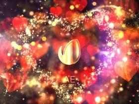 AE模板-闪闪发光爱心背景文字片头 Glitter Love Titles