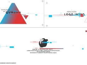 AE模板-创意MG图形信号损坏标志介绍logo动画片头