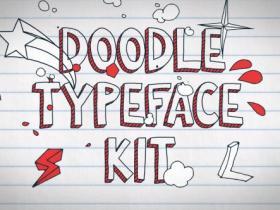 AE模板-卡通粉笔黑板字体字母手绘涂鸦MG动画Doodle Typeface Kit