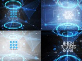 PR模板-科技感logo动画片头 Hi-Tech Logo Reveal