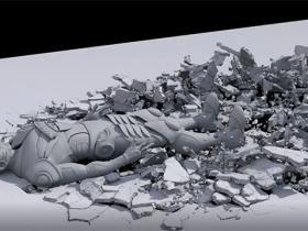 Houdini角色碰撞破碎烟雾随机碎片特效视频教程