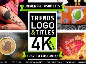 AE模板-多种Vlog纹身杂志娱乐广告宣传logo动画片头