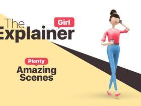 AE模板-4K三维卡通女孩角色视频解释社交媒体宣传动画