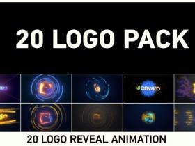 AE模板-20个闪光信号损坏霓虹灯logo动画包