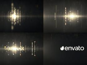 AE模板-科技感炫酷华丽金色光线logo动画视频片头
