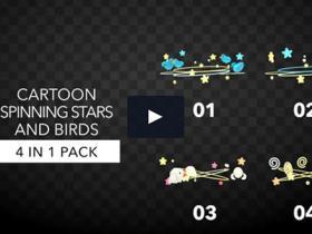 综艺儿童游戏节目环形卡通旋转星星小鸟元素视频素材