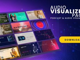 AE模板-时尚音乐波形可视化图片视频包装工具包