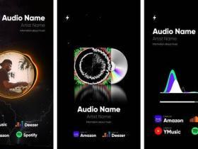 AE模板-10组竖屏抖音社交媒体音频频谱可视化包