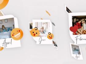 AE模板-简单便贴竖屏回忆幻灯片照片相册片头