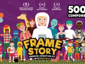 AE模板-5000+卡通人物角色男女造型场景图标MG动画元素包