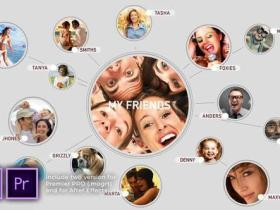 AE模板+PR预设-视频网络翻转图片相册连线Logo动画