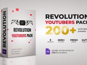 AE模板-200个社交媒体图标动画背景标题图形订阅关注宣传工具包