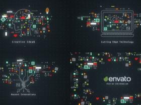 AE模板-抽象科技感面孔头部图形开场