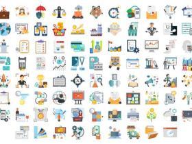 AE模板-100个商务业务工作ICON图标MG动画