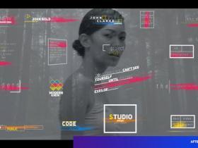 AE模板-17组现代时尚彩色条纹文字标题排版动画