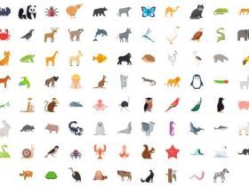 AE模板-100组动物鸟类鱼类昆虫图标ICON动画 100 Animals & Birds Icons