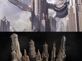 巨型泰坦工业城市高楼大厦3D模型