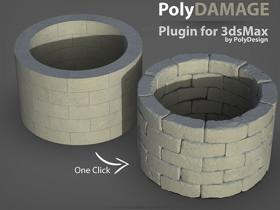 模型破损添加细节纹理雕刻3DS MAX插件 PolyDamage V1.5