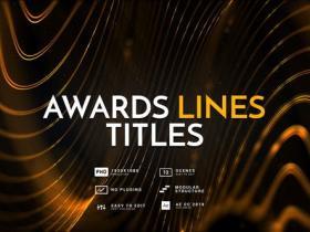 AE模板-时尚活动电影婚礼开幕金色线条文字标题颁奖片头 Awards Lines Titles