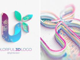 AE模板-彩色三维标志展示logo动画 Colorful 3D Logo Reveal