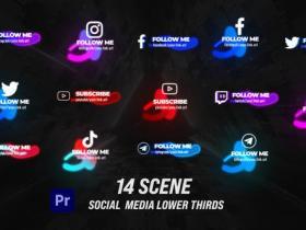 PR预设-发光社交媒体字幕条动画 Glow Social Lower Thirds