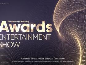 AE模板-抽象豪华金色发光粒子背景颁奖典礼活动开场片头