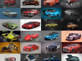 100辆汽车3D模型合集(blend/fbx格式)