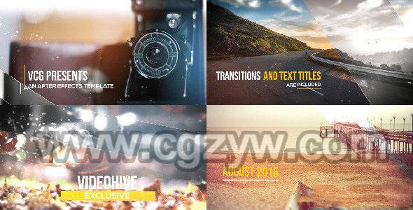 AE模板-震撼企业宣传片片头图片历程工程展示
