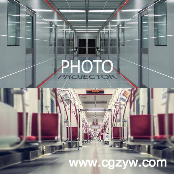 AE模板-图片照片动态化透视动画展示photo-projector