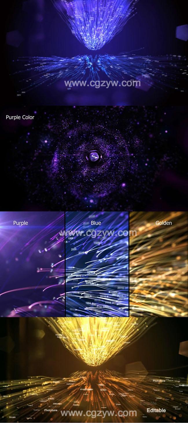 AE模板-漂亮粒子生长文字Logo公司企业发展历程时间线开场