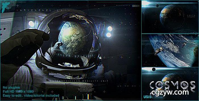 AE模板-地球宇宙飞船卫星宇航员三维标志开场片头动画展示 Earth Cosmo Logo 免费下载