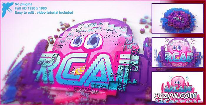 AE模板-卡通游戏像素拼贴生长Logo展示企业视频游戏宣传开场  Arcade Logo 免费下载
