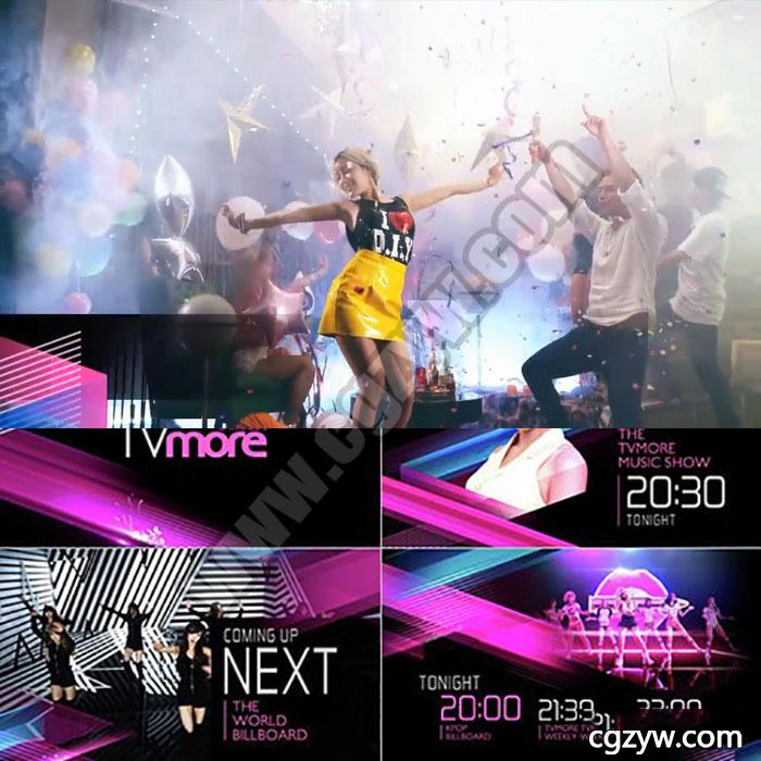 AE模板-绚丽时尚音乐会歌舞娱乐广告TV栏目包装宣传片头展示