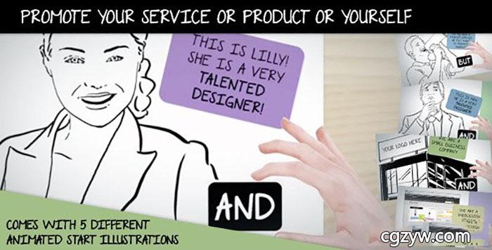 AE模板-白板绘制企业公司产品推广个人服务介绍MG动画手势动画开场 Promote Your Service Or Product Or Yourself免费下载