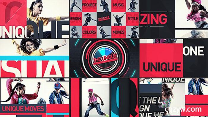 ae模板-现代时尚电视节目包装片头标志字幕条转场mg动画